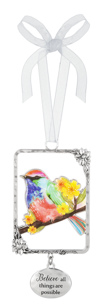Silver/Enamel Bird Ornament - Believe all Things are Possible