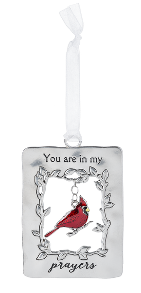 Silver/Enamel Cardinal Ornament - You are in My Prayers