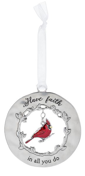 Silver/Enamel Cardinal Ornament - Have Faith in all You Do