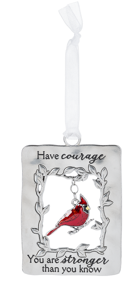 Silver/Enamel Cardinal Ornament - Have Courage
