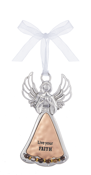Silver/Copper Angel Ornament - Live your Faith