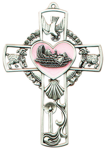 "Baby wall cross pink 5"" pewter"