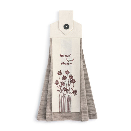 Blessed Beyond Button Loop Tea Towel