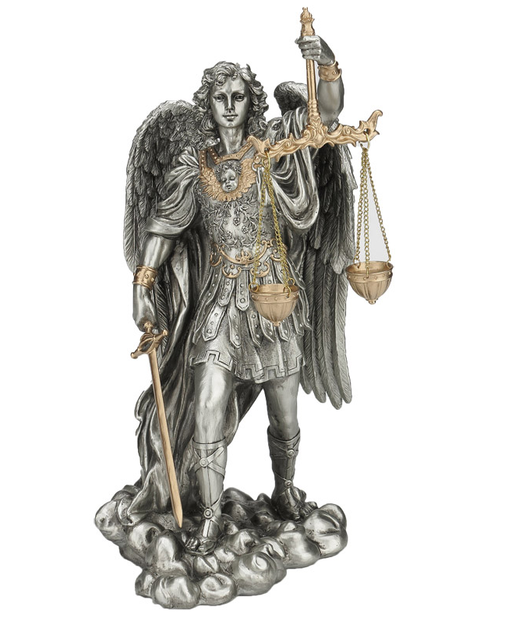 "St. Michael the Archangel 11.5"" Pewter & Gold Statue"
