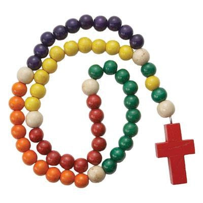 Kiddie Wood Rosary (Non-Toxic Beads) 14""