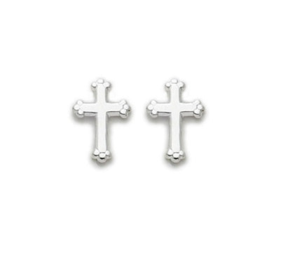 Sterling Silver Budded Cross Earings