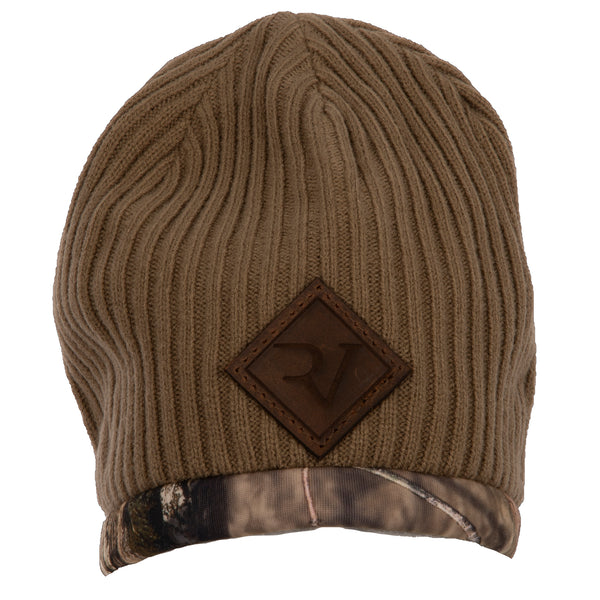 RV Leather Patch Camo Beanie