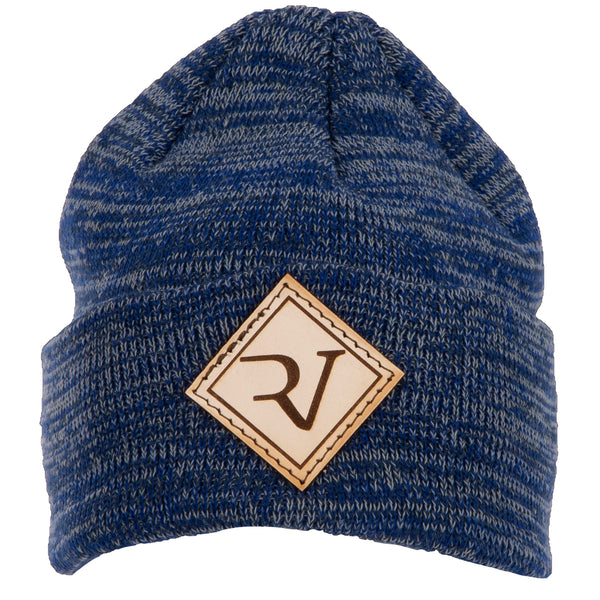 RV Leather Patch Blue Heather Beanie