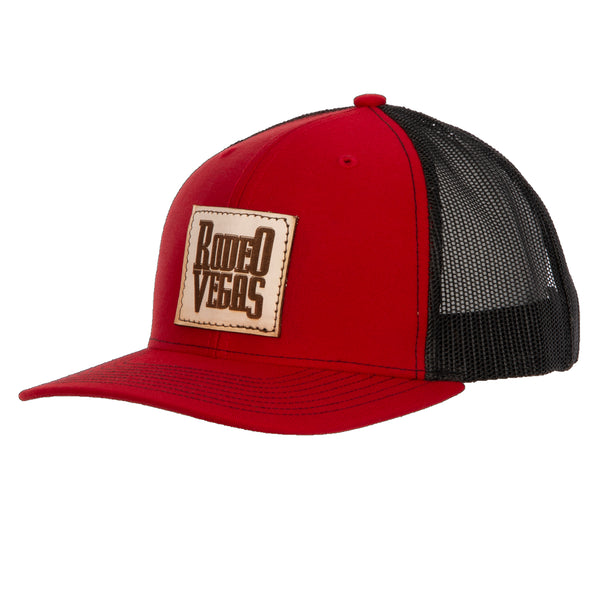 Rodeo Vegas Leather on Red with Black Mesh