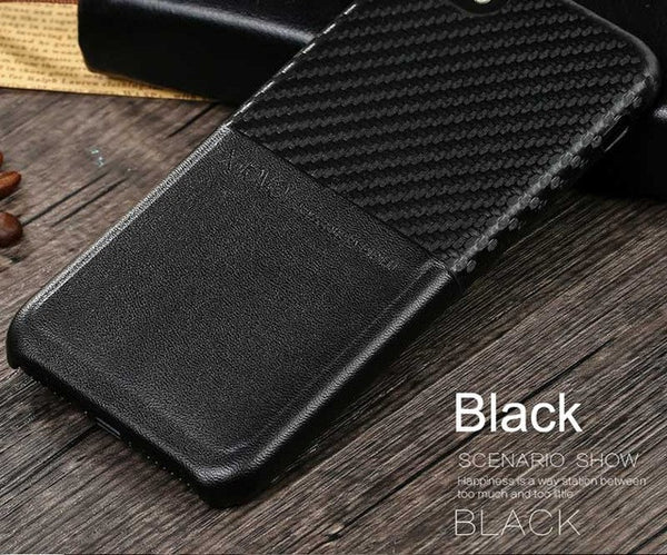 iPhone 7 and Up - Leather Back Luxury Case w/ Card Slots