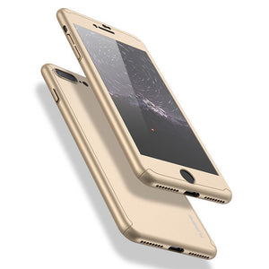 iPhone 5, 6 & 7 Luxury 360 Degree Hybrid Full Cover Case with Tempered Glass
