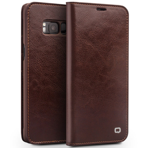 Samsung Galaxy S8 & S8 Plus Genuine Leather Flip Wallet Case
