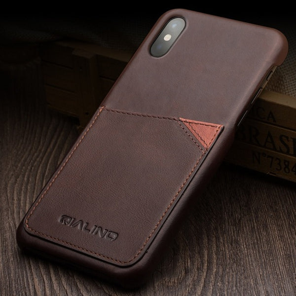 iPhone X Luxury Genuine Calf Leather Case w/ Card Slots