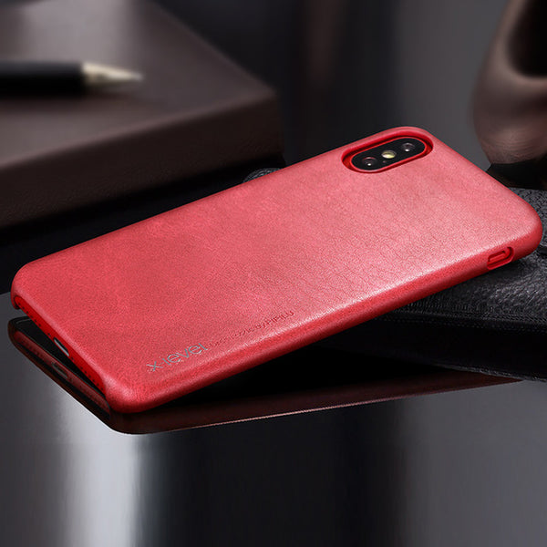 iPhone X Smooth Vintage Leather Back Case