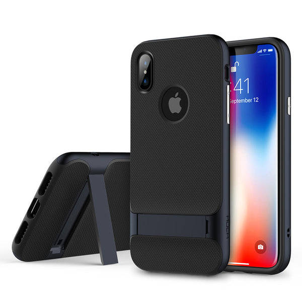 iPhone X Slim Luxury Brand Phone Case W/ Kick Stand