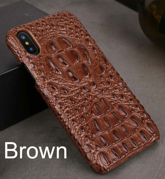 iPhone X Crocodile Pattern Real Genuine Cow Leather Case