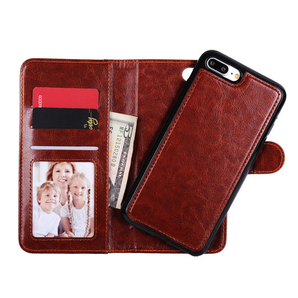 iPhone 8/8 Plus Magnetic Detachable Wallet Flip Leather Case