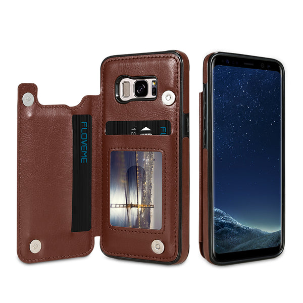 Samsung Galaxy S7, S8, Note 8 Luxury PU Leather Wallet Card Holder Case