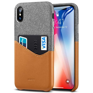 iPhone XS Case High Grade Leather with Soft Fabric W/ Card Slot