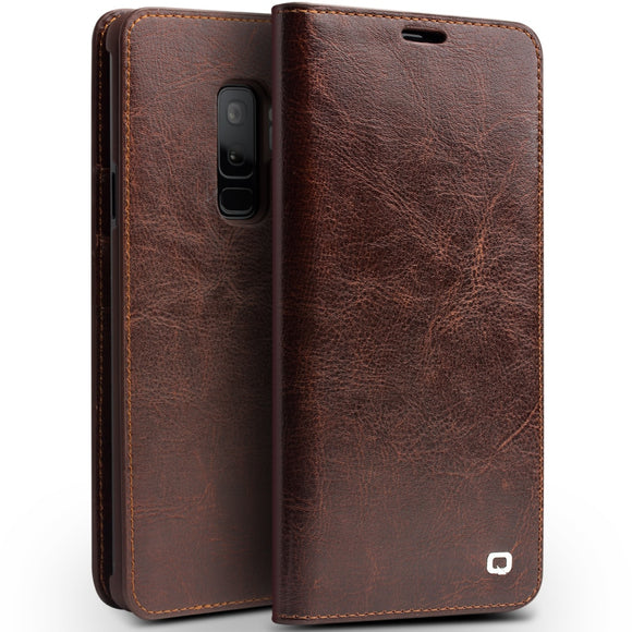 Galaxy S9 Plus Case Ultra Slim Genuine Leather Flip