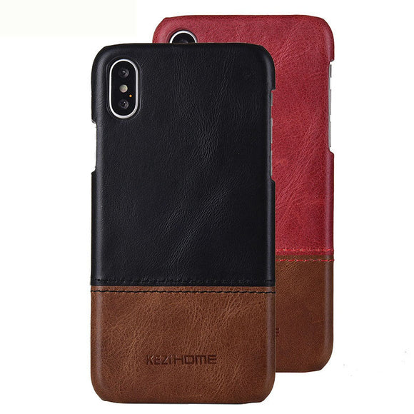 iPhone X Case Business Style Genuine Real Leather Cover