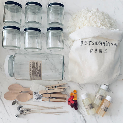 Soy Candle Making DIY Kit - Six Glass Jars