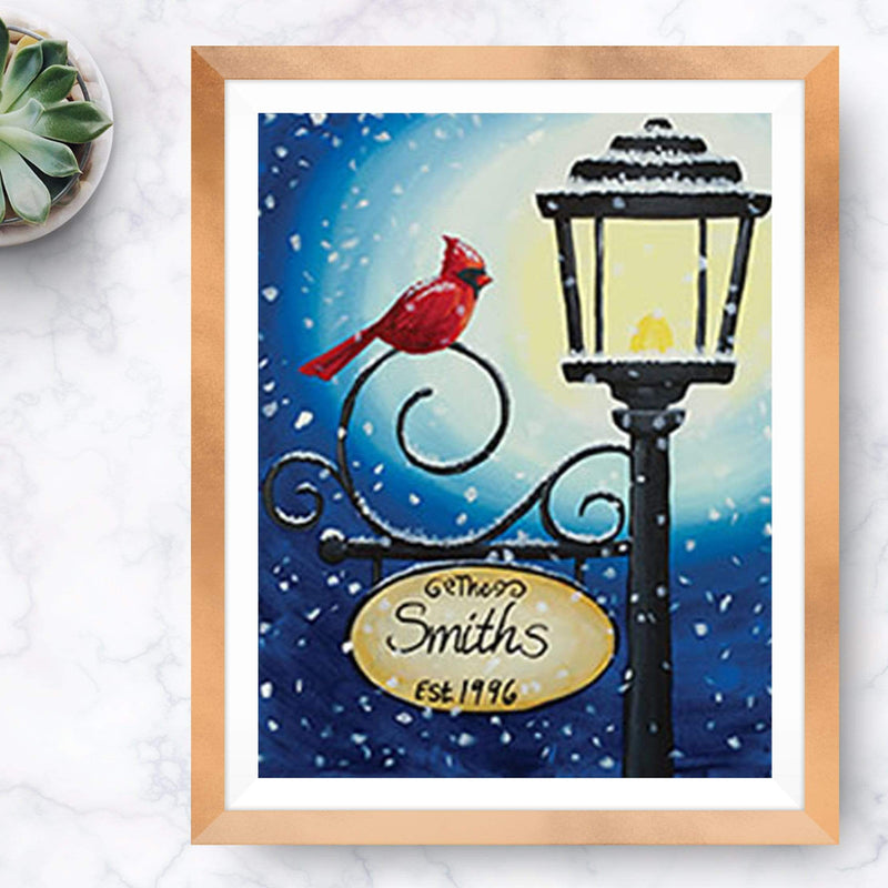 Cardinal on a Lamp Post Painting