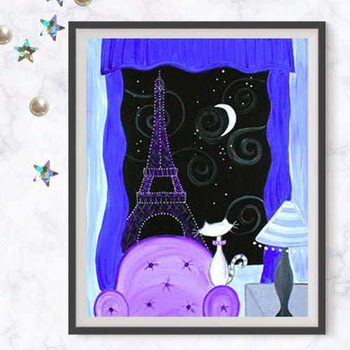 Kitty In Paris Painting