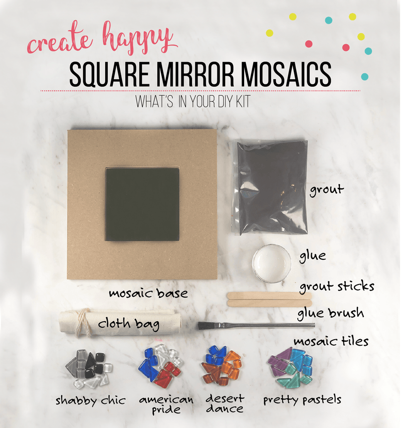 Mosaic Square Mirror DIY Craft Kit
