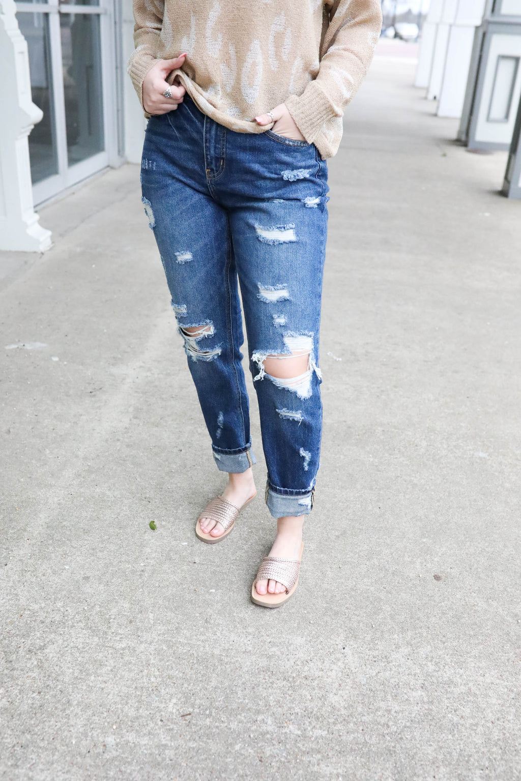 Kancan High Rise Girlfriend Distress Jean,Bottoms - Denim Jeans