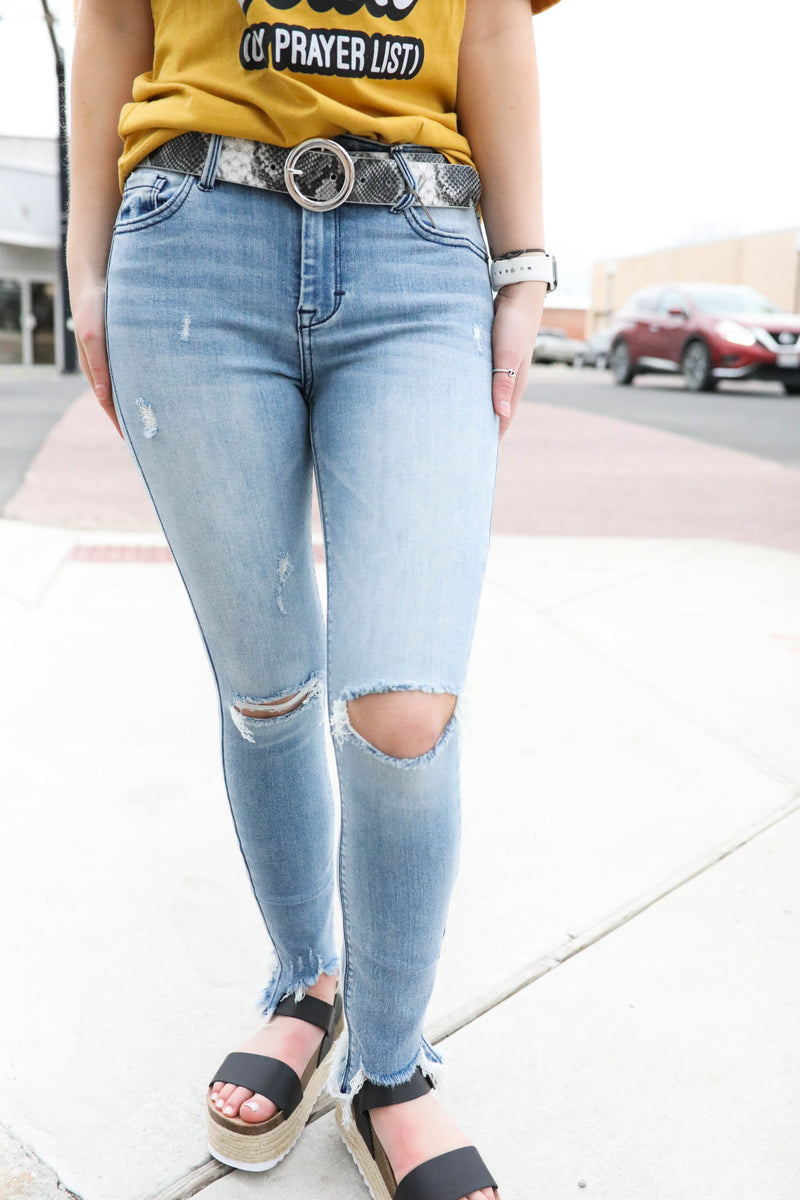Hidden Amelia Raw Hem Skinny Jean,Bottoms - Denim Jeans