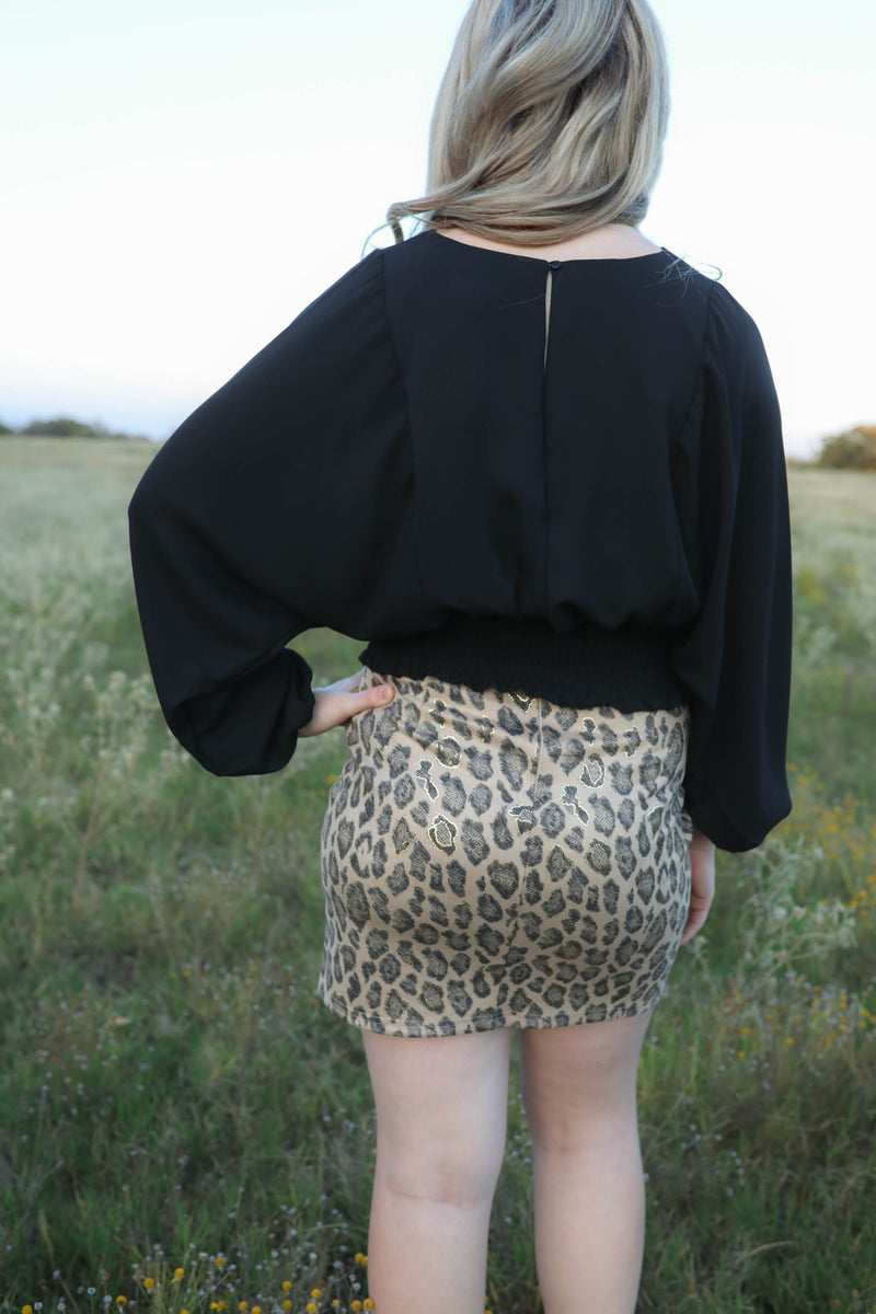 Chic High Waisted Stretchy Leopard Skirt