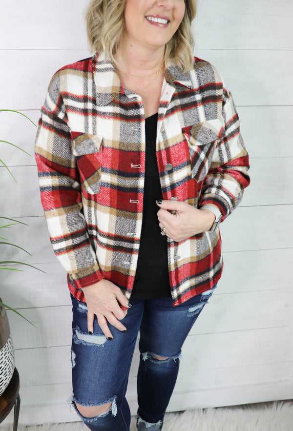 Popular Cotton Blend Plaid Button Down Top