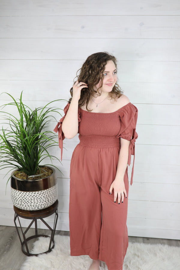 Caught In The Moment Smocked Jumpsuit