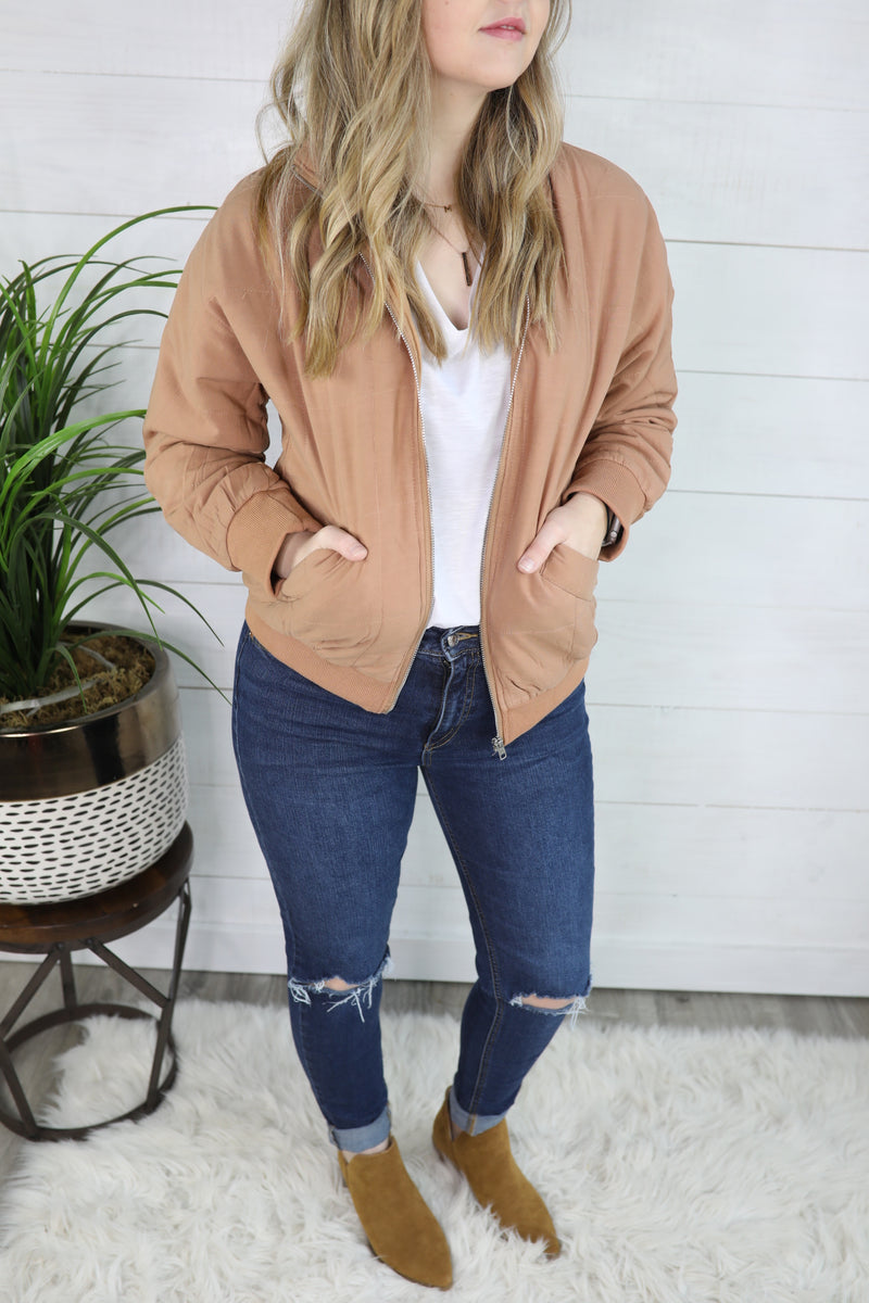 It's Cozy Time Quilted Bomber Jacket