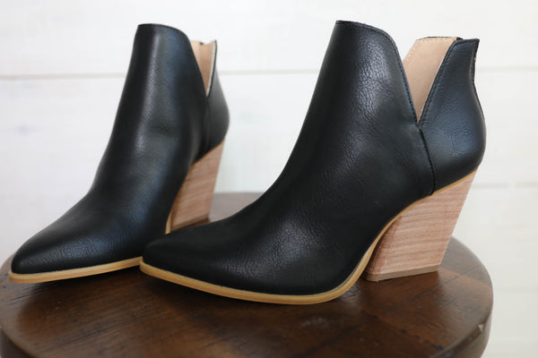 Step It Up Black Leather Bootie