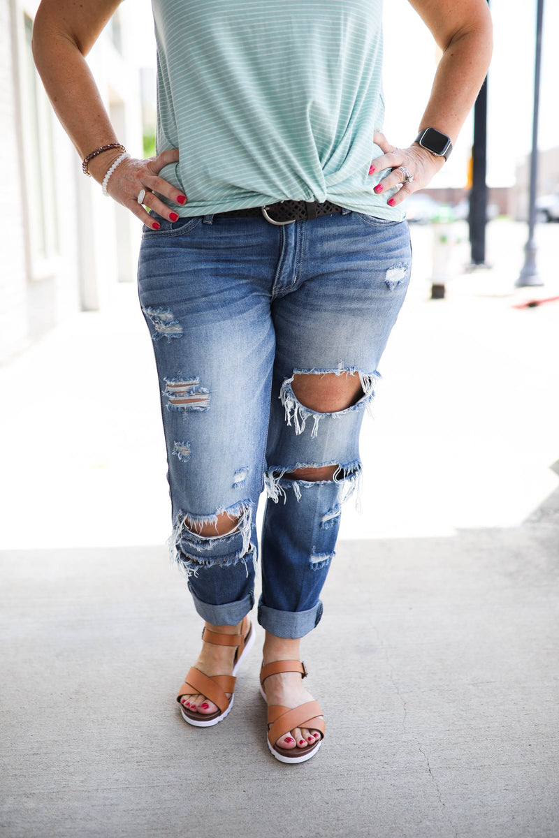 KanCan Midrise Distressed BF Jeans,Bottoms - Denim Jeans