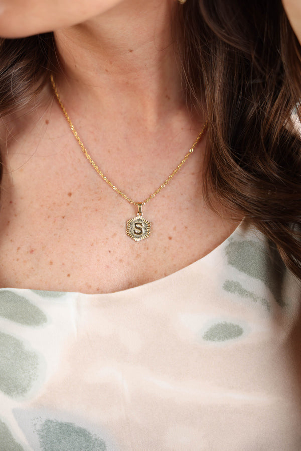 Signature Hexagon Initial Necklace