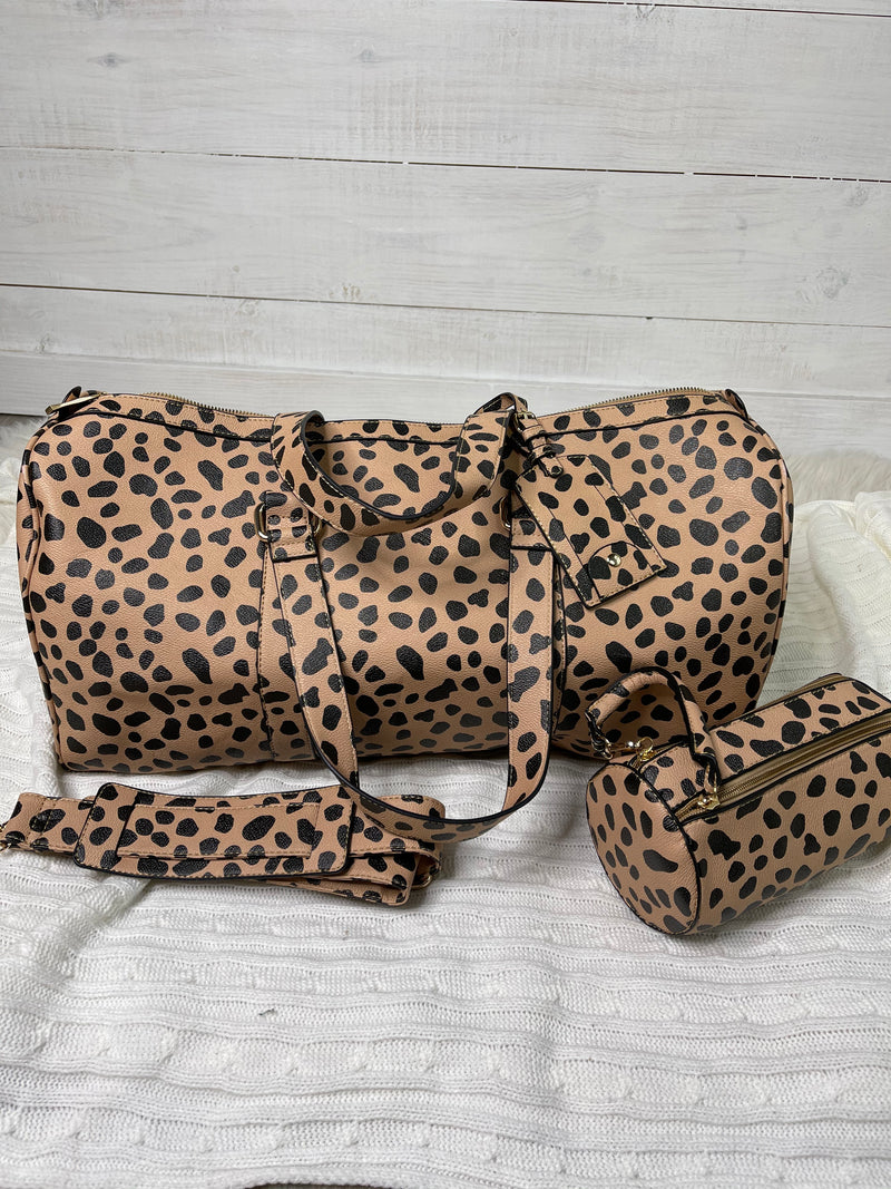 Its all about the Cheetah Duffle Bag: 3 piece Set