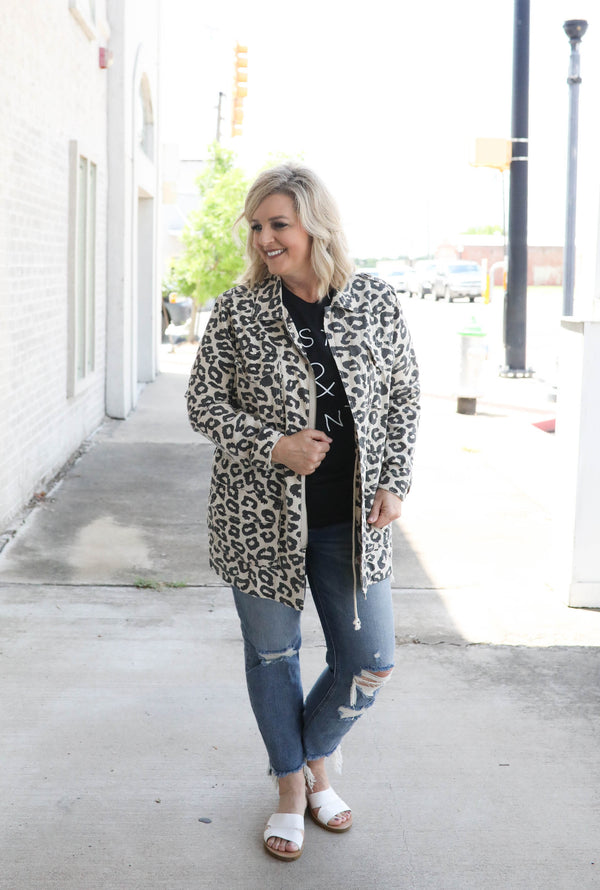 The Chase Is On Leopard Utility Jacket