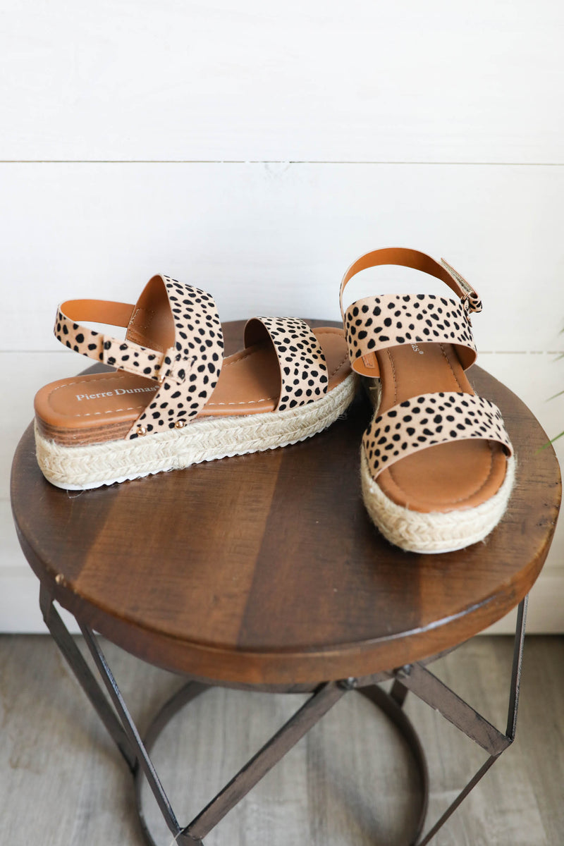 Let's Get Outta Here Leopard Sandals