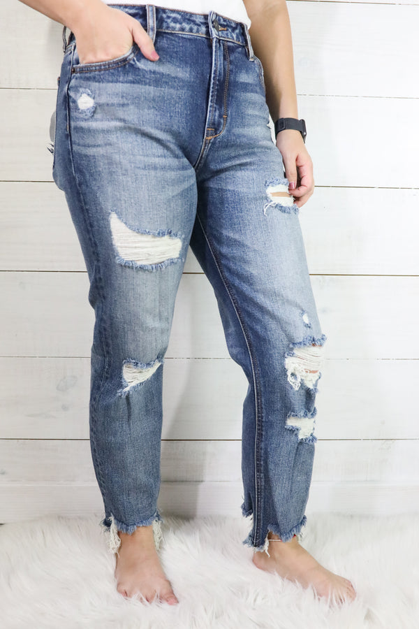 Hidden Zoey Slim Fit Mom w/Fray Hem Jeans