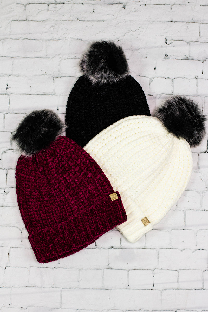 Chenille Beanie w/Pom - Rebel Roots Boutique