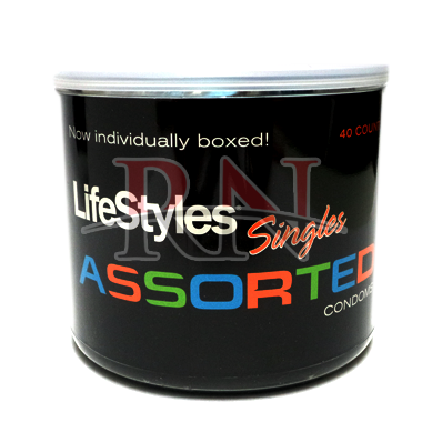 Wholesale LifeStyles Singles Assorted Condoms Jar 40PC Bulk