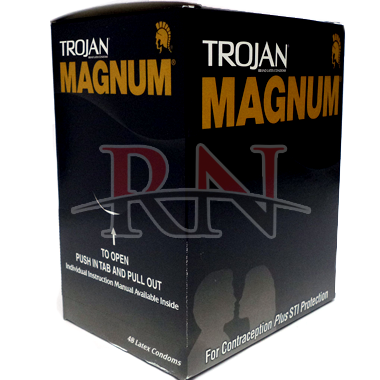 Wholesale Trojan Magnum Original Dispenser Single Condoms 48CT Bulk