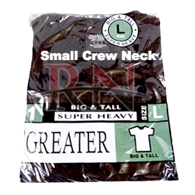 GREATER | BLACK SMALL CREW-NECK TSHIRT INDIVIDUALLY PACKAGED  - 12 PK