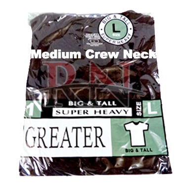 GREATER | BLACK MEDIUM CREW-NECK TSHIRT INDIVIDUALLY PACKAGED  - 12 PK
