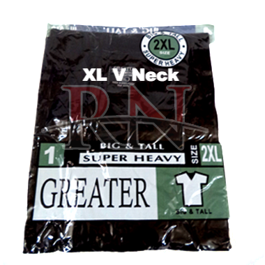 GREATER | BLACK XL V-NECK TSHIRT INDIVIDUALLY PACKAGED  - 12 PK