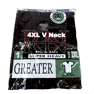 GREATER | BLACK 4XL V-NECK TSHIRT INDIVIDUALLY PACKAGED  - 12 PK