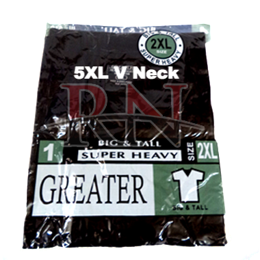 GREATER | BLACK 5XL V-NECK TSHIRT INDIVIDUALLY PACKAGED  - 12 PK